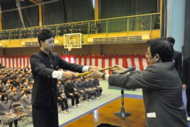 卒業式予行と各表彰