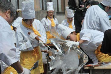 調理科2年生による氷柱彫刻実習を実施しました