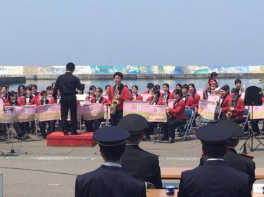 吹奏楽部 佐井村消防団定期観閲式演奏で参加